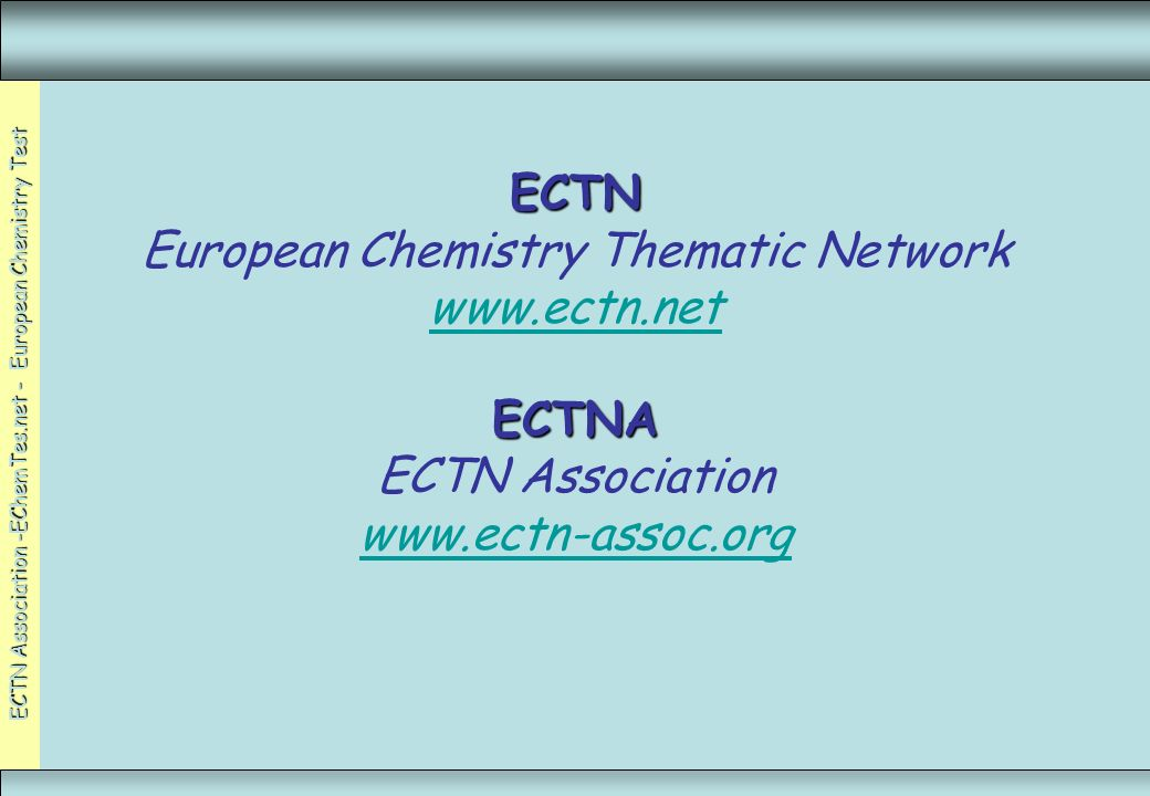 ECTN European Chemistry Thematic Network www. ectn