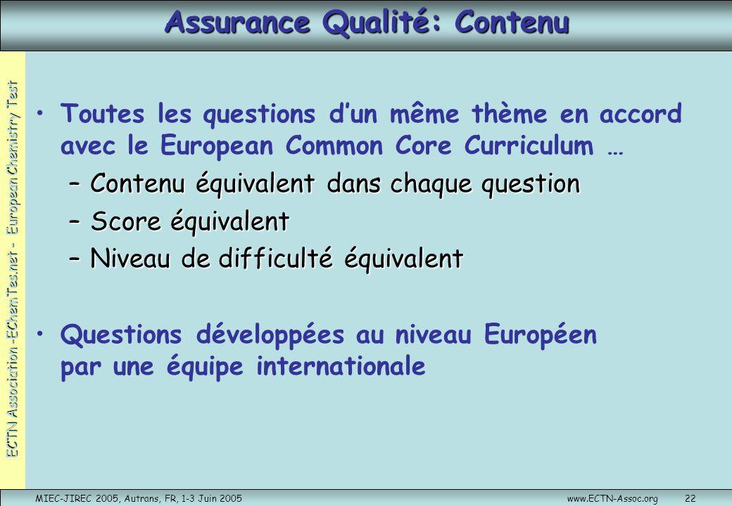 Assurance Qualité: Contenu