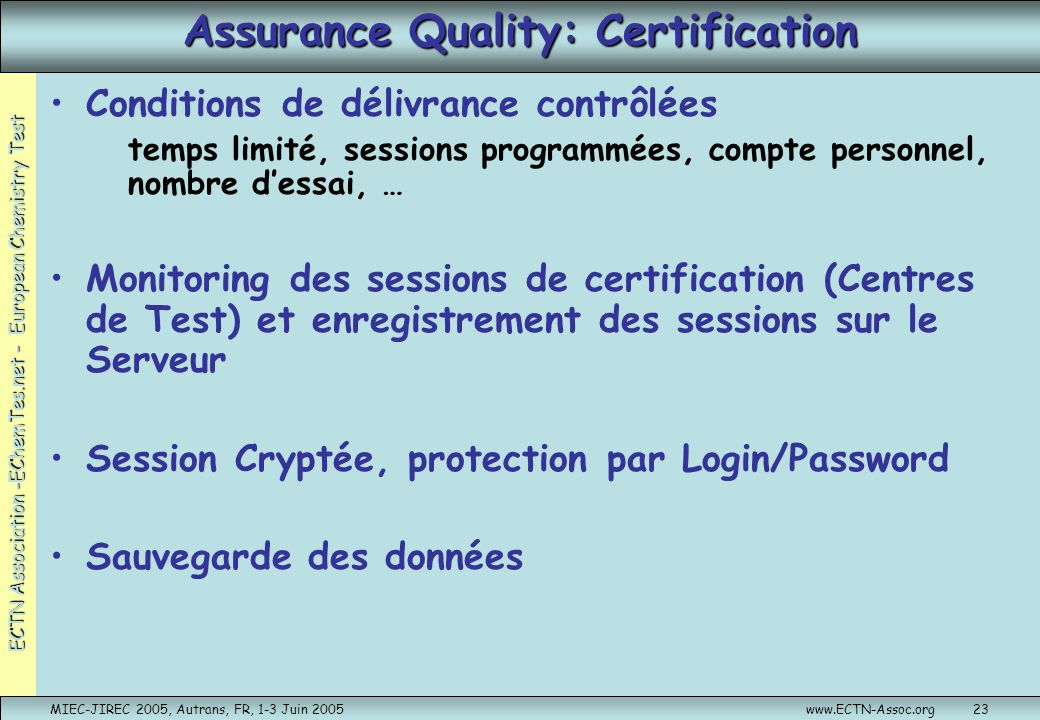 Assurance Quality: Certification