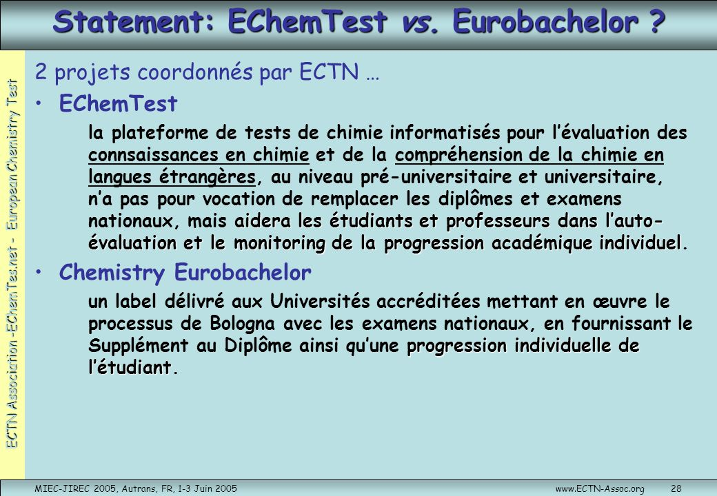 Statement: EChemTest vs. Eurobachelor