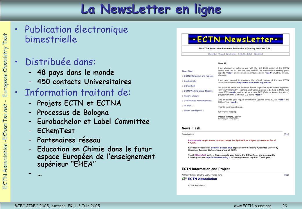 La NewsLetter en ligne Publication électronique bimestrielle