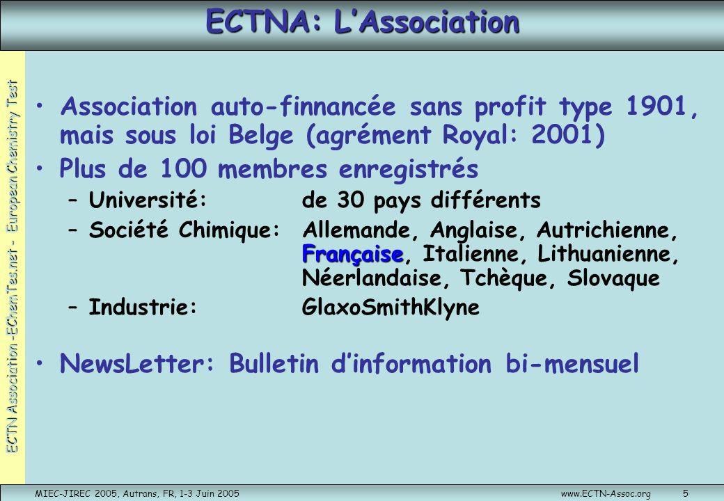 ECTNA: L'Association Association auto-finnancée sans profit type 1901, mais sous loi Belge (agrément Royal: 2001)