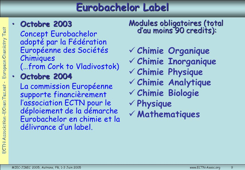 Eurobachelor Label Chimie Organique Chimie Inorganique Chimie Physique