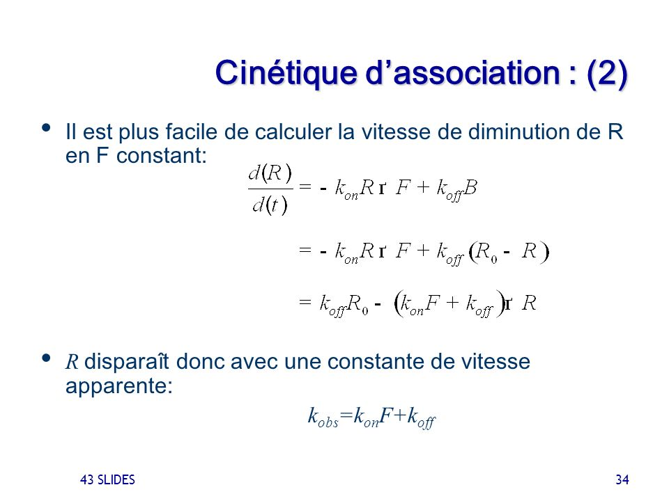 Cinétique d'association : (2)