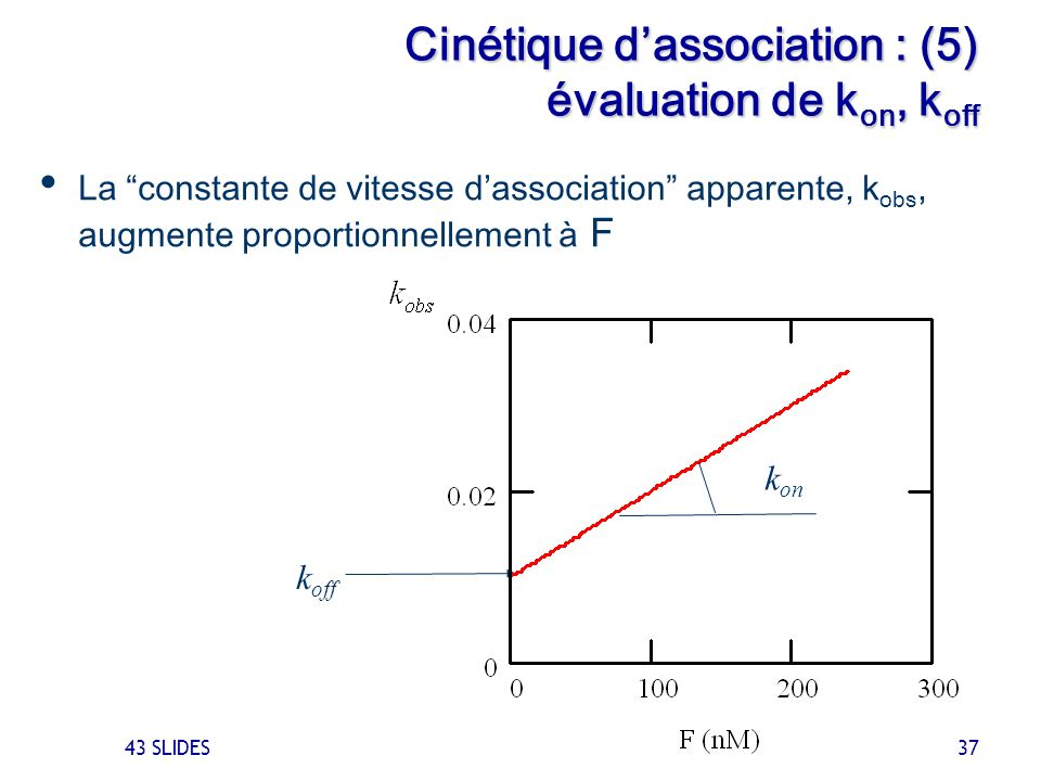 Cinétique d'association : (5) évaluation de kon, koff