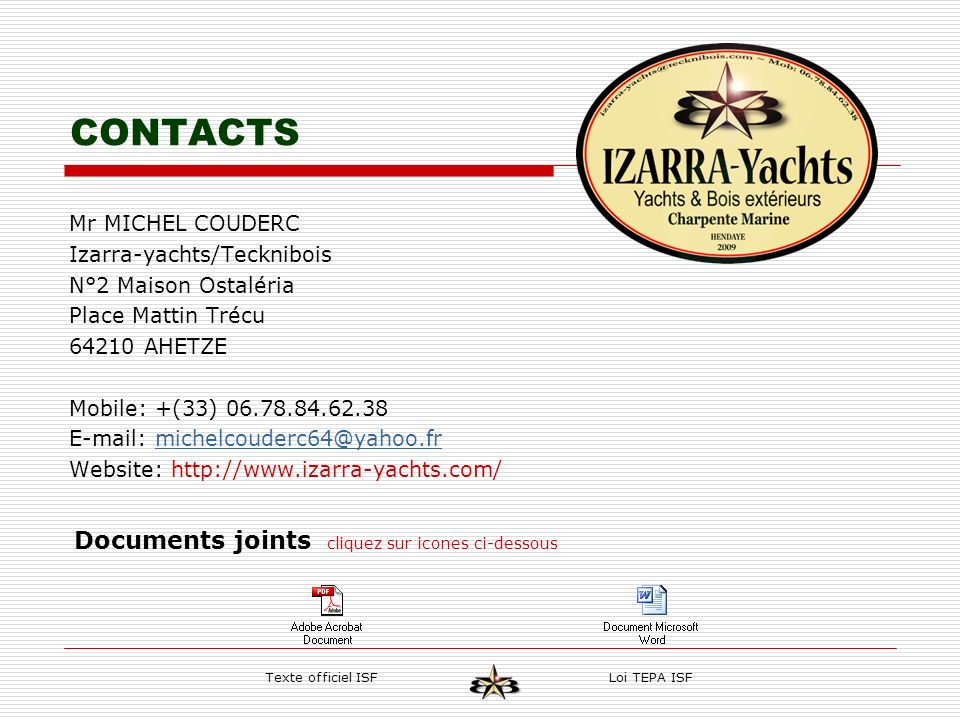 CONTACTS Documents joints cliquez sur icones ci-dessous