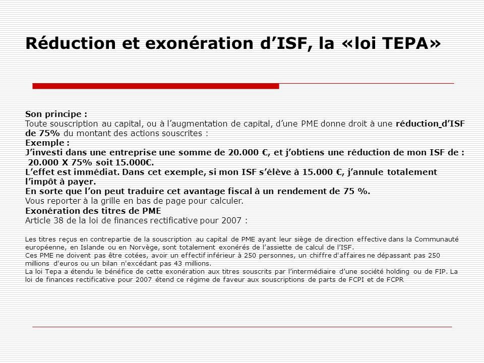 Réduction et exonération d'ISF, la «loi TEPA»
