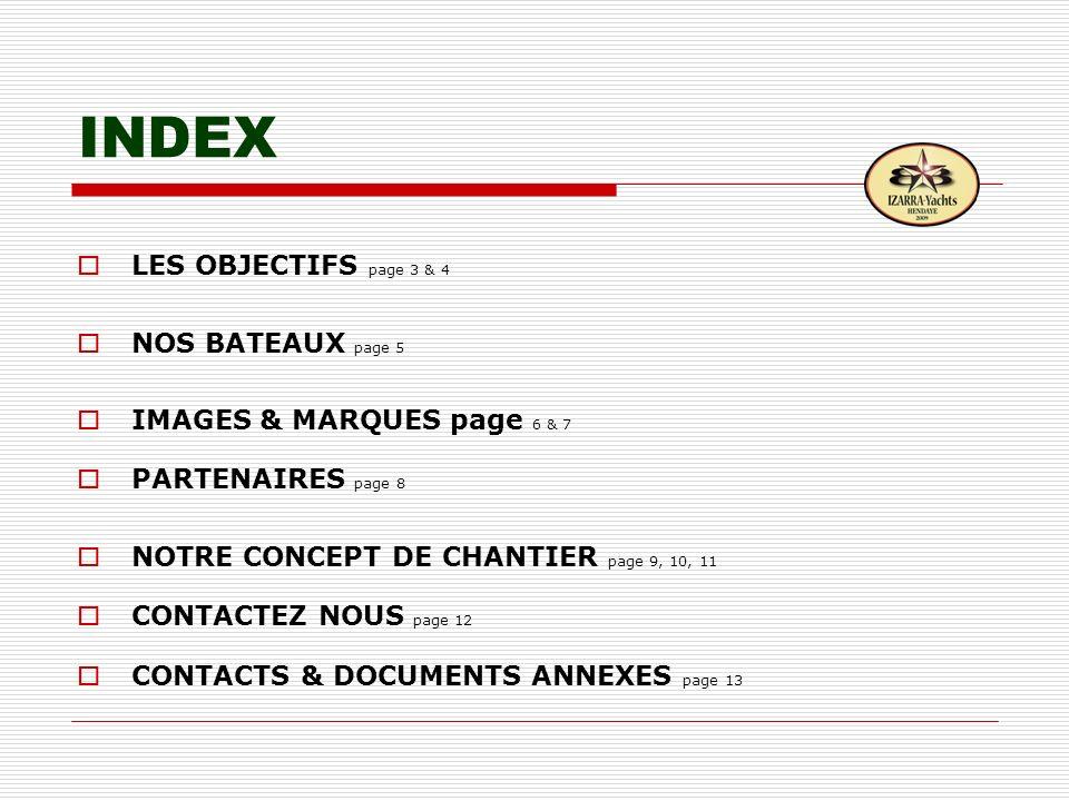 INDEX LES OBJECTIFS page 3 & 4 NOS BATEAUX page 5