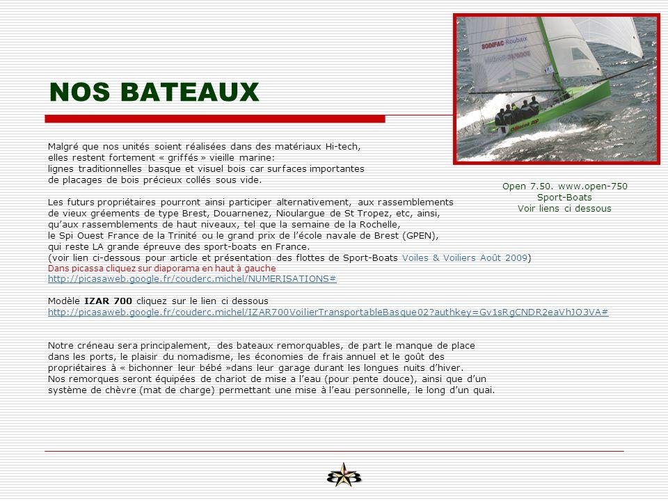 NOS BATEAUX Malgré que nos unités soient réalisées dans des matériaux Hi-tech, elles restent fortement « griffés » vieille marine: