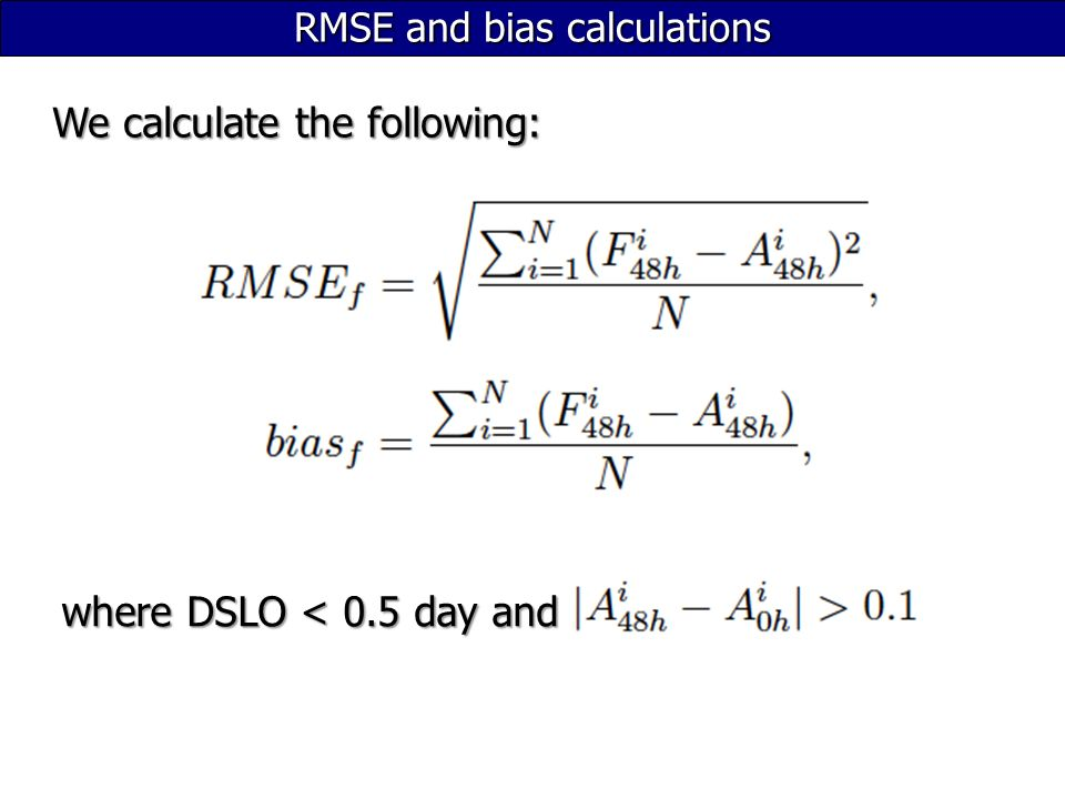 RMSE and bias calculations