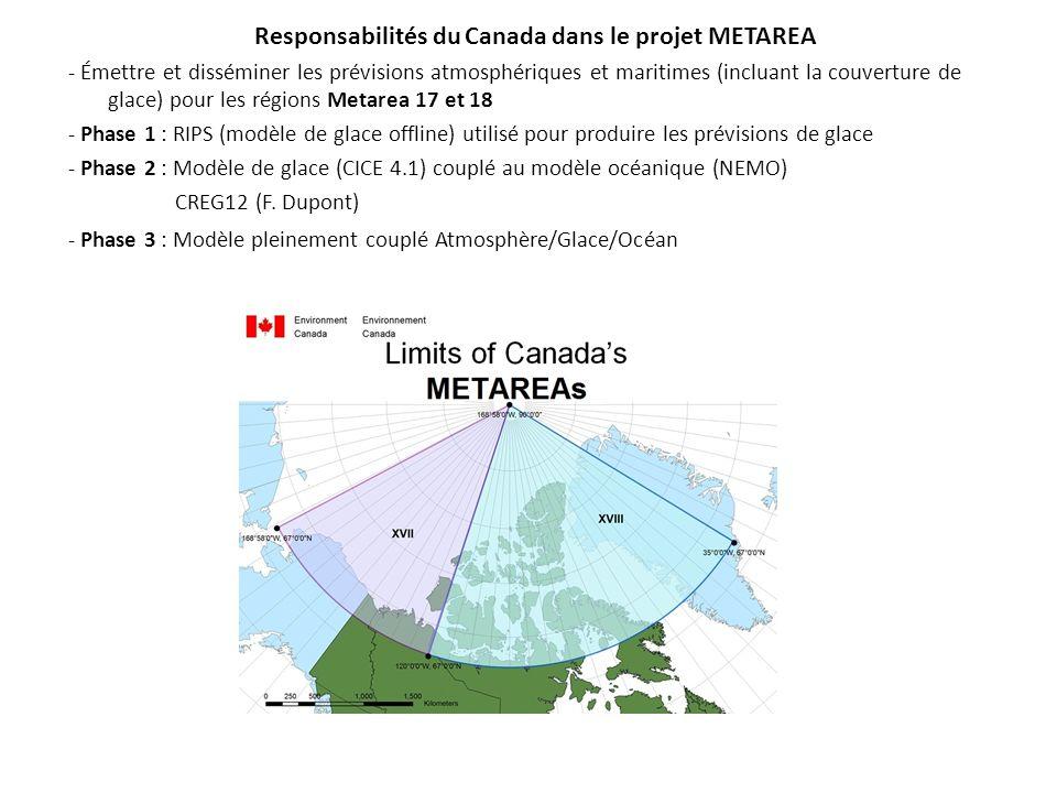 Responsabilités du Canada dans le projet METAREA