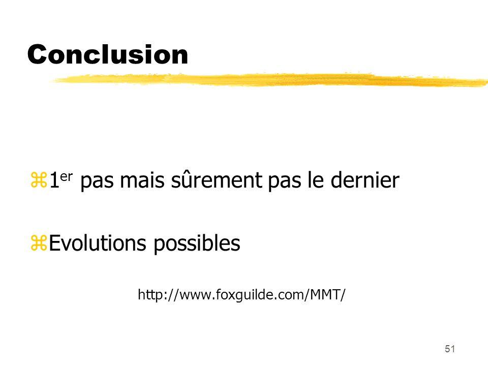 Conclusion 1er pas mais sûrement pas le dernier Evolutions possibles