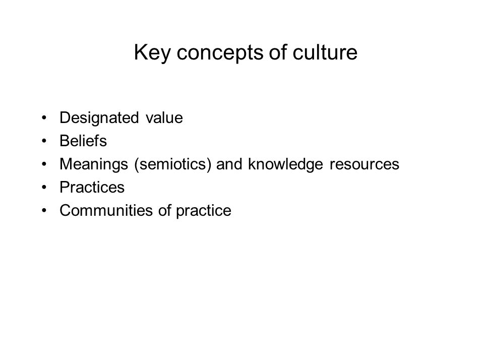 Key concepts of culture
