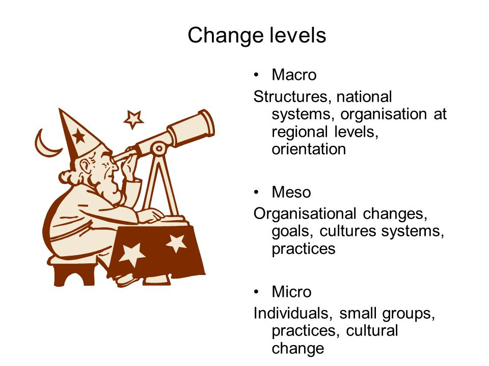 Change levels Macro. Structures, national systems, organisation at regional levels, orientation. Meso.
