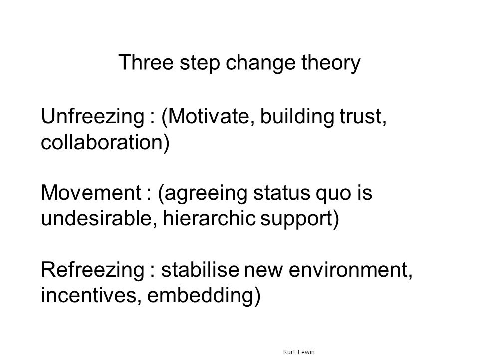 Three step change theory