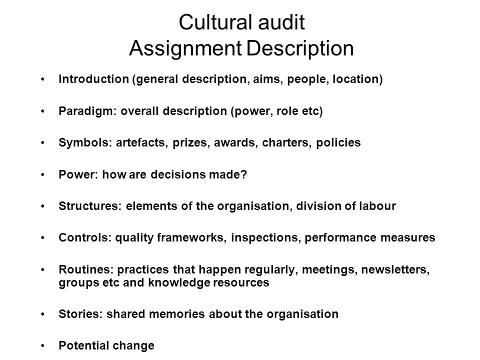 Cultural audit Assignment Description