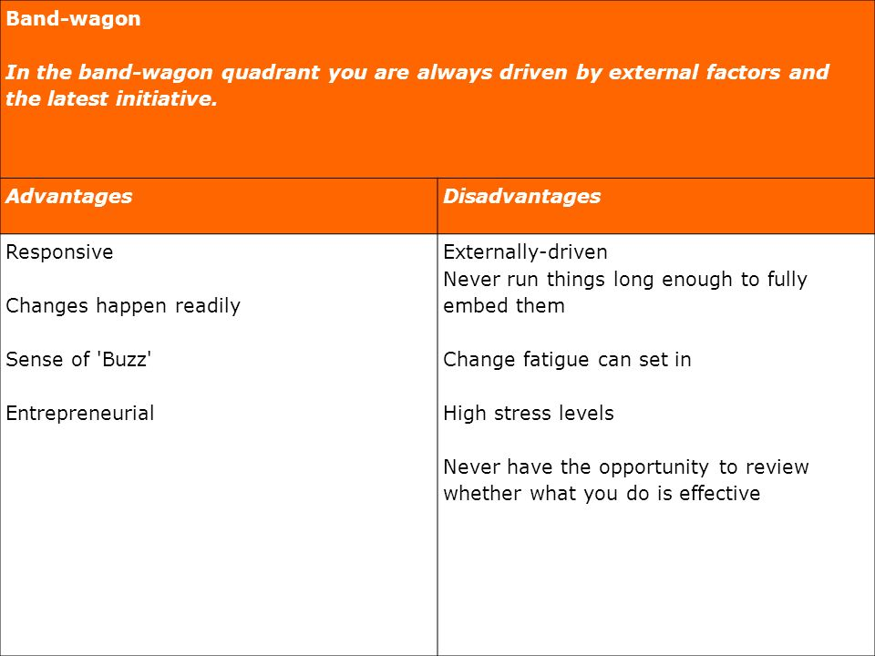 Band-wagon In the band-wagon quadrant you are always driven by external factors and the latest initiative.