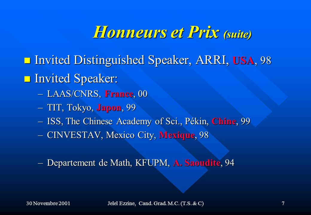 Honneurs et Prix (suite)