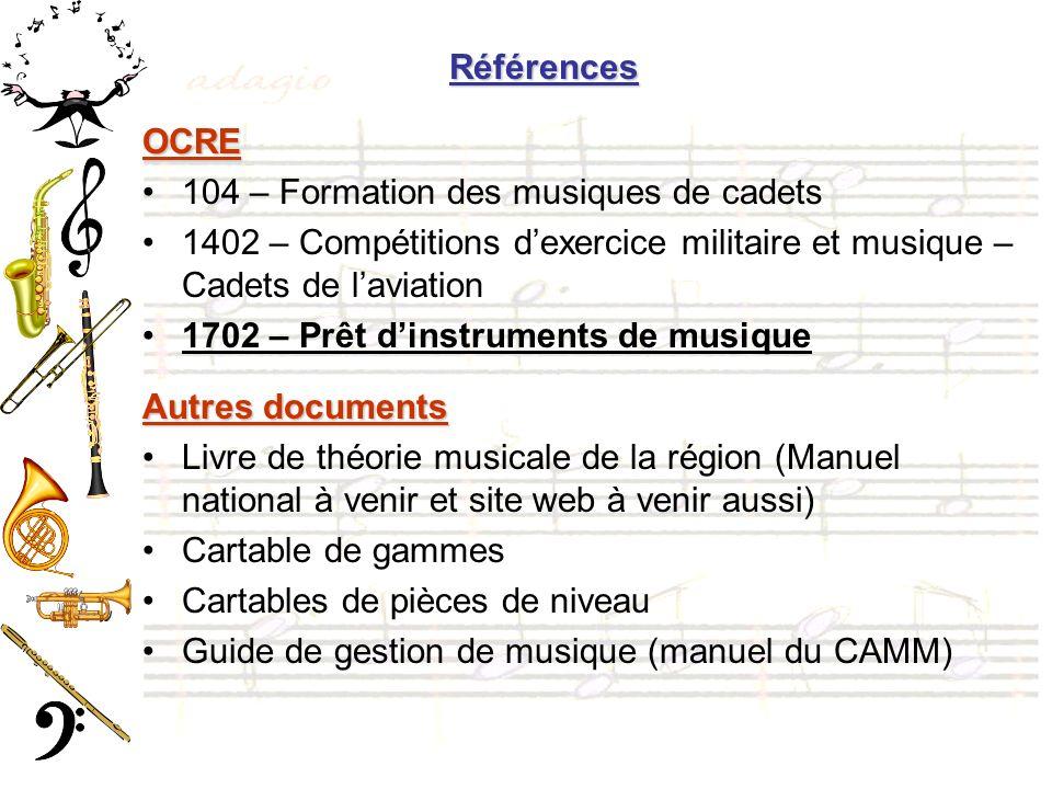 Références OCRE. 104 – Formation des musiques de cadets. 1402 – Compétitions d'exercice militaire et musique – Cadets de l'aviation.