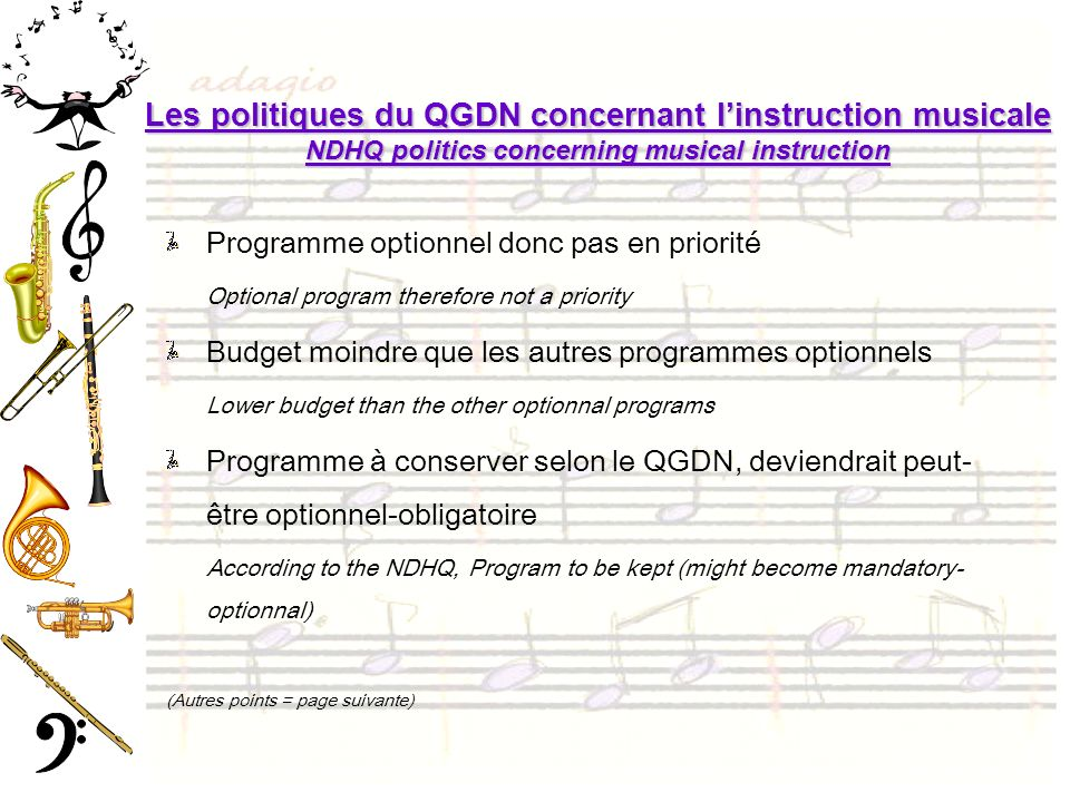 Les politiques du QGDN concernant l'instruction musicale NDHQ politics concerning musical instruction