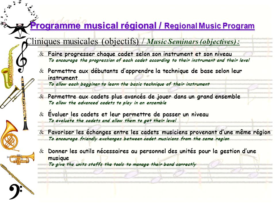 Programme musical régional / Regional Music Program