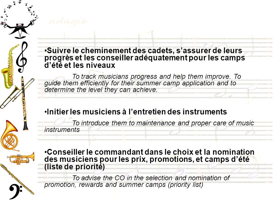Initier les musiciens à l'entretien des instruments