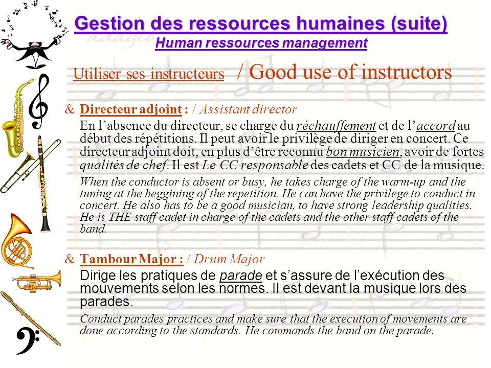 Gestion des ressources humaines (suite) Human ressources management