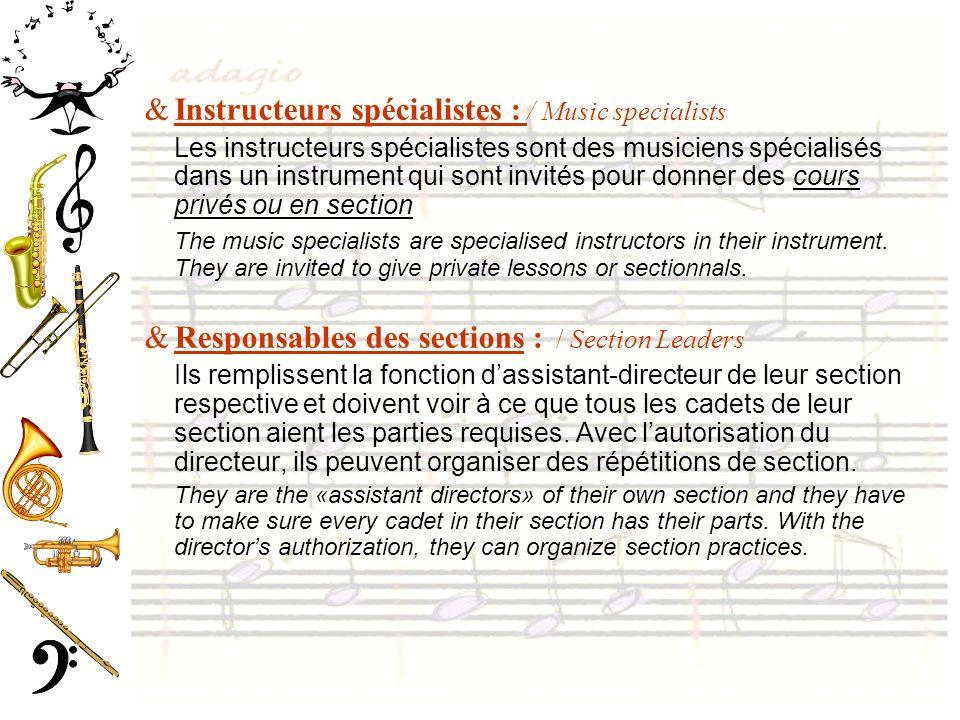 Instructeurs spécialistes : / Music specialists