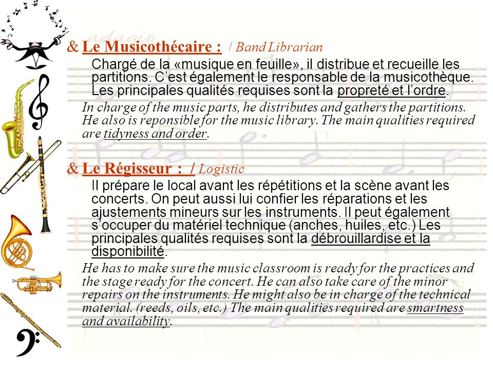 Le Musicothécaire : / Band Librarian