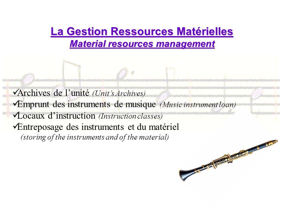 La Gestion Ressources Matérielles Material resources management
