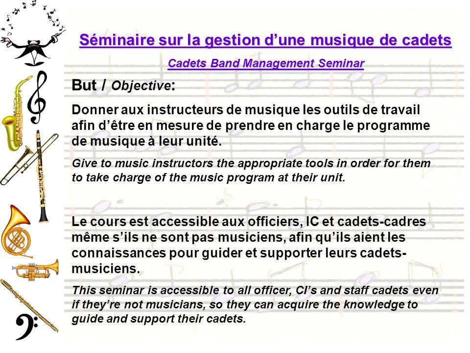 Cadets Band Management Seminar