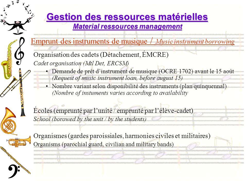 Gestion des ressources matérielles Material ressources management