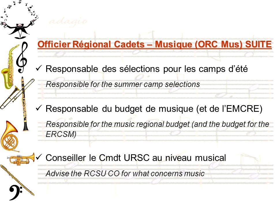 Officier Régional Cadets – Musique (ORC Mus) SUITE