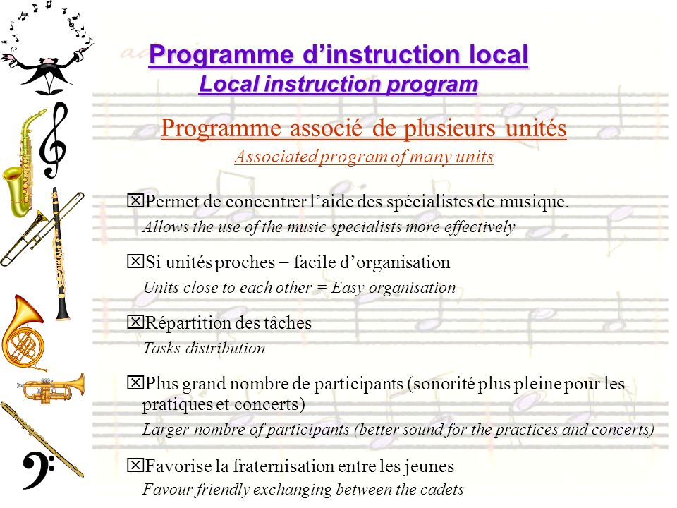 Programme d'instruction local Local instruction program