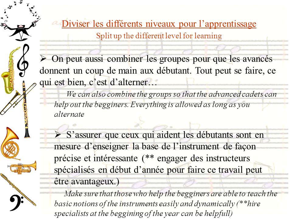 Diviser les différents niveaux pour l'apprentissage