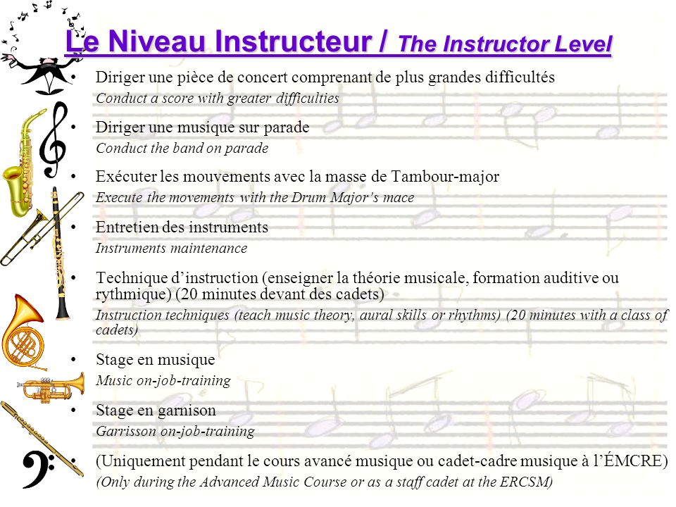 Le Niveau Instructeur / The Instructor Level