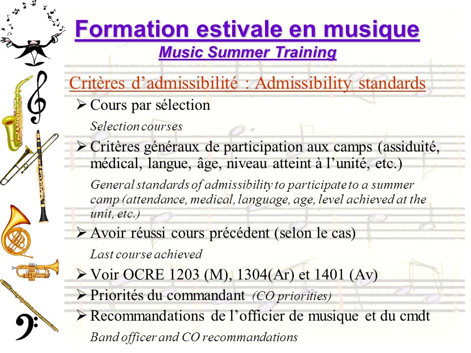 Formation estivale en musique Music Summer Training
