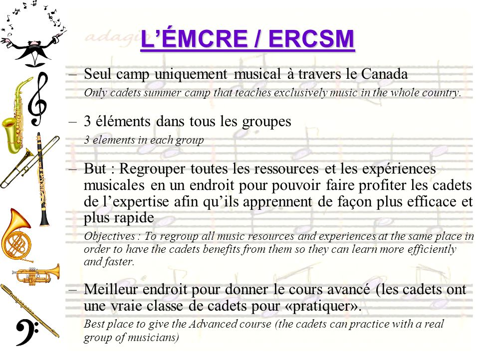 L'ÉMCRE / ERCSM Seul camp uniquement musical à travers le Canada