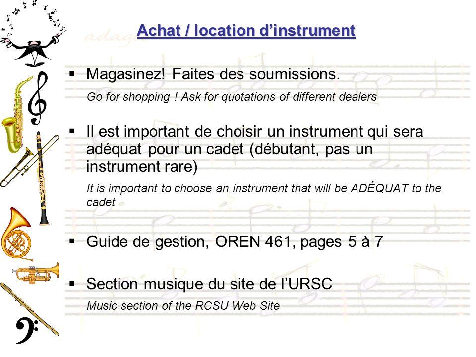 Achat / location d'instrument