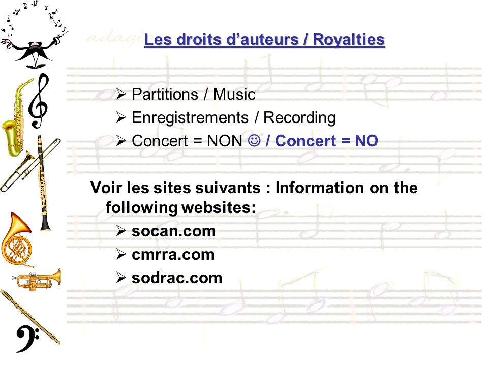 Les droits d'auteurs / Royalties