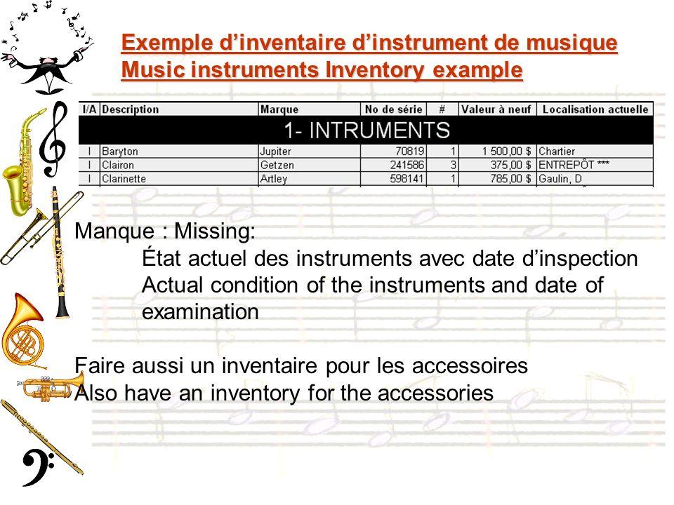 Exemple d'inventaire d'instrument de musique