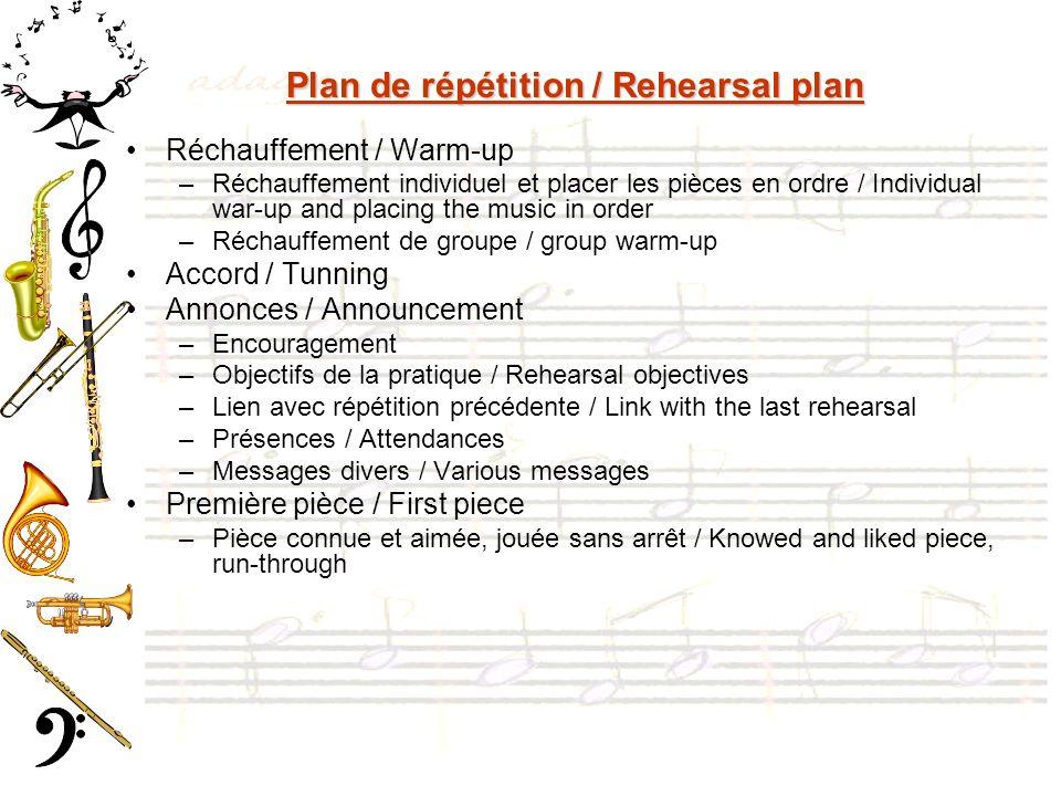 Plan de répétition / Rehearsal plan