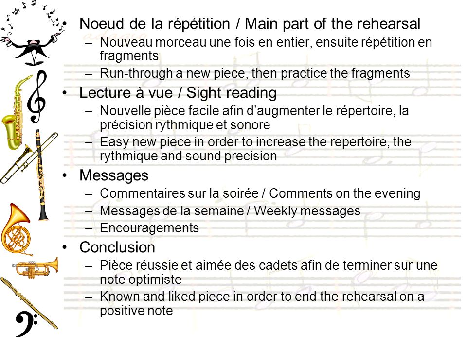 Noeud de la répétition / Main part of the rehearsal