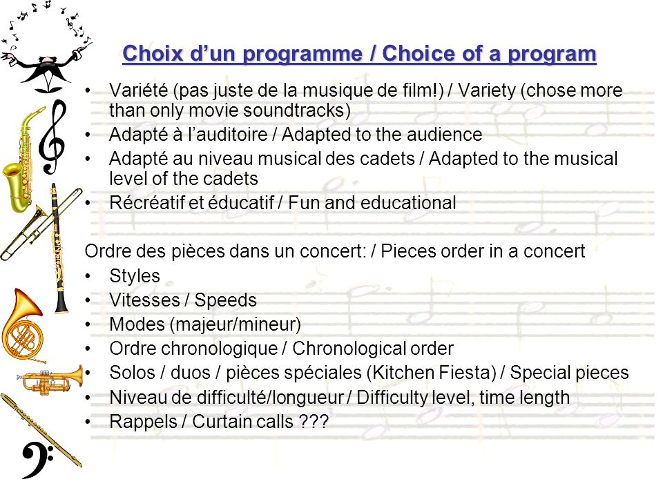 Choix d'un programme / Choice of a program