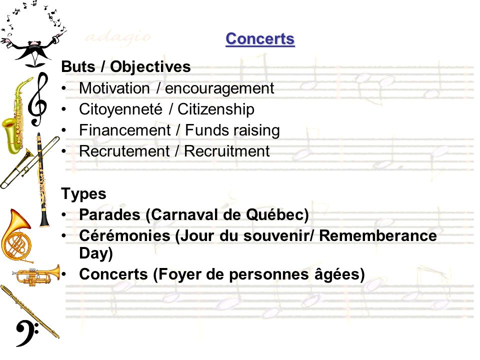 Concerts Buts / Objectives. Motivation / encouragement. Citoyenneté / Citizenship. Financement / Funds raising.