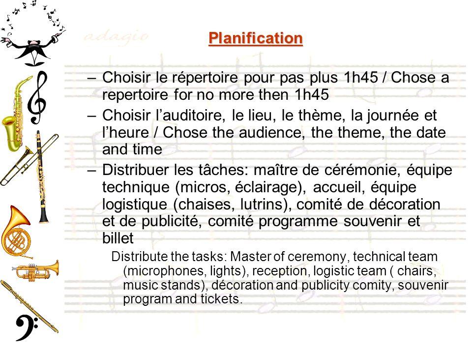 Planification Choisir le répertoire pour pas plus 1h45 / Chose a repertoire for no more then 1h45.