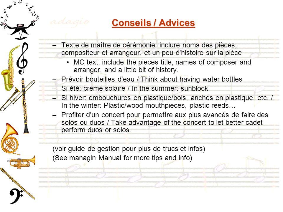 Conseils / Advices Texte de maître de cérémonie: inclure noms des pièces, compositeur et arrangeur, et un peu d'histoire sur la pièce.