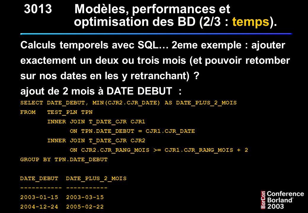3013 Modèles, performances et optimisation des BD (2/3 : temps).