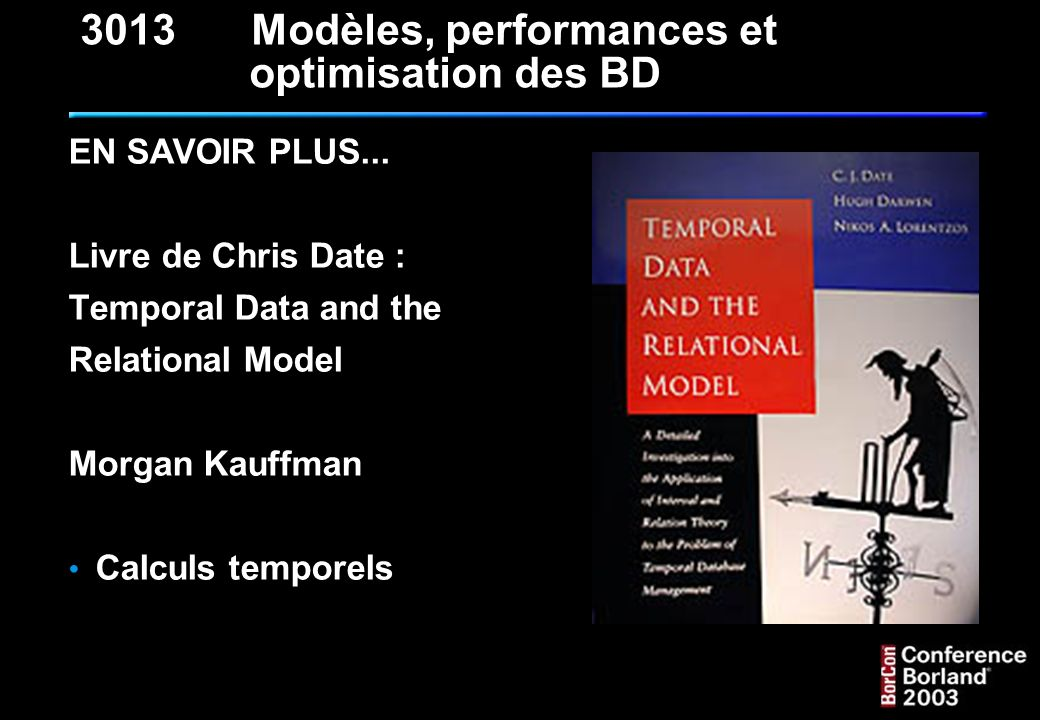 3013 Modèles, performances et optimisation des BD