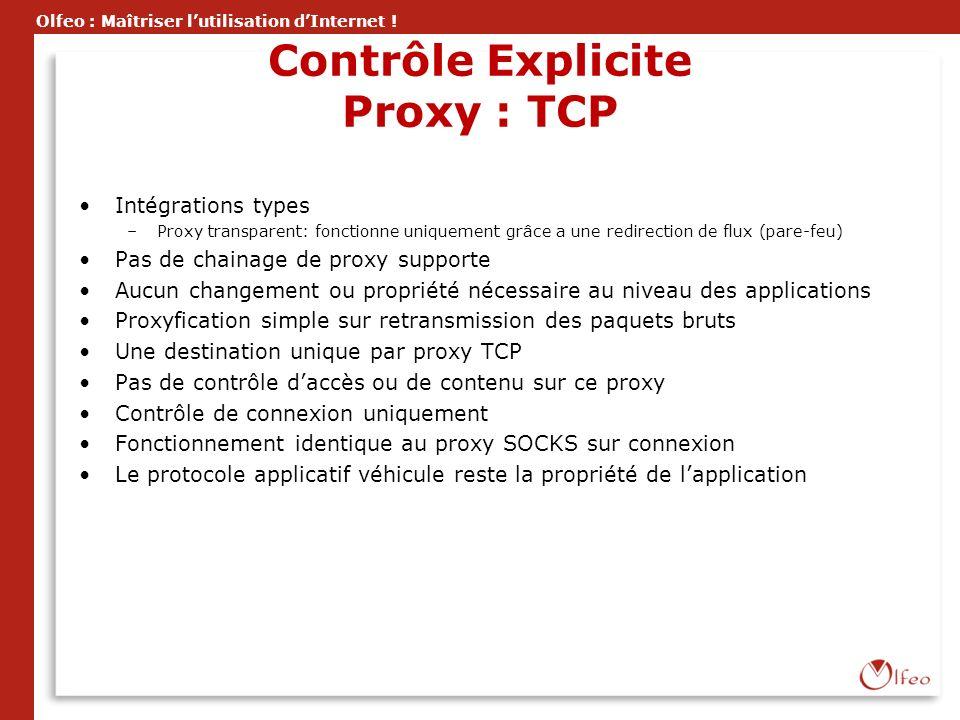 Contrôle Explicite Proxy : TCP